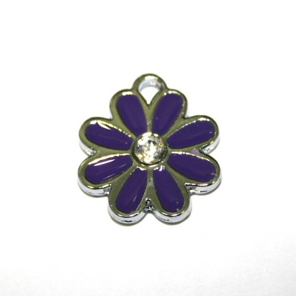1x 17*17mm rhodium plated purple daisy with  rhinestone enamel charm - SD03 - CHE1250